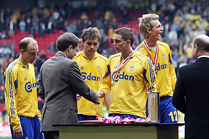 Daniel Agger (Br�ndby IF), Johan Elmander (Br�ndby IF), Kim Daugaard (Br�ndby IF)