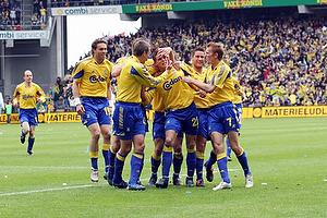Daniel Agger, m�lscorer (Br�ndby IF), Johan Elmander (Br�ndby IF), Per Nielsen (Br�ndby IF), Martin Retov (Br�ndby IF), Thomas Kahlenberg (Br�ndby IF)