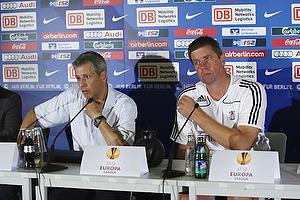 Kent Nielsen, cheftr�ner (Br�ndby IF), Lucien Favre, cheftr�ner (Hertha Berlin)