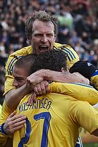 Jan Kristiansen, m�lscorer (Br�ndby IF), Martin Bernburg (Br�ndby IF), Remco van der Schaaf (Br�ndby IF)