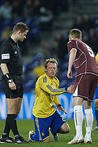 Michael Krohn-Dehli, anf�rer (Br�ndby IF), Andreas Bjelland (FC Nordsj�lland), Henrik Nystrup Kragh, dommer