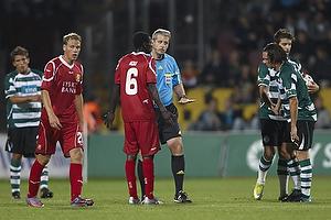 Stanislav Sukhina, dommer, Enock Kofi Adu (FC Nordsj�lland)
