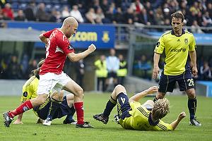 Christian Holst (Silkeborg IF), Remco van der Schaaf (Br�ndby IF), Max von Schlebr�gge, anf�rer (Br�ndby IF)
