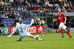 Michael T�rnes (Br�ndby IF), Kaimar Saag, m�lscorer (Silkeborg IF)