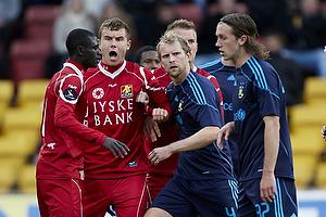 Andreas Bjelland (FC Nordsj�lland), Enock Kofi Adu (FC Nordsj�lland), Remco van der Schaaf (Br�ndby IF)