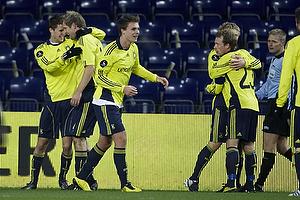 Remco van der Schaaf, m�lscorer (Br�ndby IF), Daniel Stenderup (Br�ndby IF), Nicolaj Agger (Br�ndby IF)