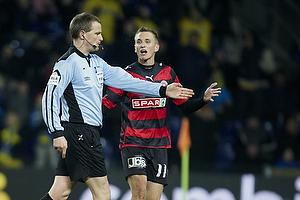Peter Rasmussen, dommer, Danny Olsen (FC Midtjylland)