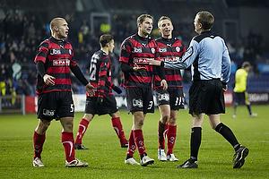 Martin Albrechtsen (FC Midtjylland), Brian Priske (FC Midtjylland), Danny Olsen (FC Midtjylland), Peter Rasmussen, dommer