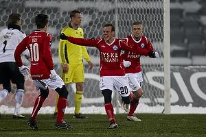 Frank Hansen, m�lscorer (Silkeborg IF), Jesper Bech (Silkeborg IF), Kaimar Saag (Silkeborg IF)
