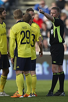 Michael Svendsen, dommer, Daniel Wass (Br�ndby IF), Michael Krohn-Dehli (Br�ndby IF), Max von Schlebr�gge, anf�rer (Br�ndby IF)