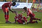 Matti Lund Nielsen, m�lscorer (FC Nordsj�lland), Andreas Laudrup (FC Nordsj�lland), Jores Okore (FC Nordsj�lland)