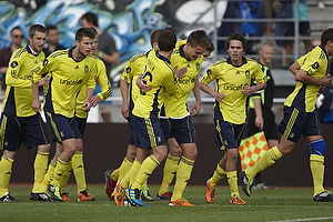 Nicolaj Agger, m�lscorer (Br�ndby IF), Mike Jensen (Br�ndby IF), Jan Kristiansen (Br�ndby IF), Mathias Gehrt (Br�ndby IF), Jan Frederiksen (Br�ndby IF), Michael Krohn-Dehli, anf�rer (Br�ndby IF)