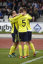 Mike Jensen (Br�ndby IF), Jan Frederiksen (Br�ndby IF), Nicolaj Agger, m�lscorer (Br�ndby IF)