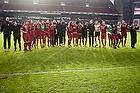 Jublende FC Nordsj�lland-spiller efter slutfl�jtet