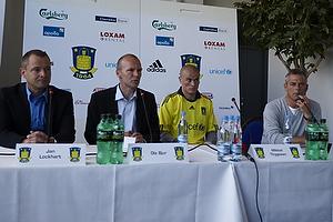 Jan Lockhart (Br�ndby IF), Ole Bjur, sportschef (Br�ndby IF), Mikkel Thygesen (Br�ndby IF), Henrik Jensen, cheftr�ner (Br�ndby IF)