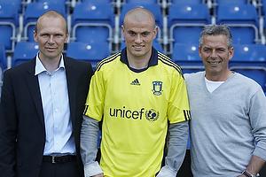 Ole Bjur, sportschef (Br�ndby IF), Mikkel Thygesen (Br�ndby IF), Henrik Jensen, cheftr�ner (Br�ndby IF)