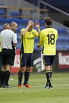 Mikkel Thygesen (Br�ndby IF) f�r debut p� Br�ndby Stadion da han indskiftes i stedet for Nicolaj Agger (Br�ndby IF)