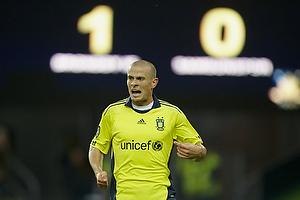 Mikkel Thygesen (Br�ndby IF) og m�ltavlen med 1-0
