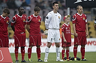 Andreas Laudrup (FC Nordsj�lland), Seejou King (FC Nordsj�lland), Jesper Hansen (FC Nordsj�lland), Nicolai Stokholm, anf�rer (FC Nordsj�lland) med maskot