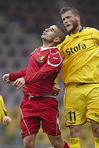 Rawez Lawan (FC Nordsj�lland) i luftduel med Niels Lodberg (AC Horsens)