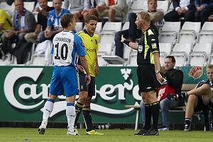 Michael Svendsen, dommer, Jan Kristiansen (Br�ndby IF), Andreas Johansson (Ob)