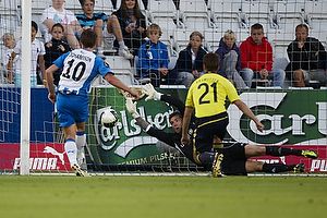 Andreas Johansson (Ob) scorer p� Stephan Andersen (Br�ndby IF), Thomas Rasmussen (Br�ndby IF)