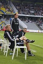Kim Daugaard, assistenttr�ner (Br�ndby IF), Henrik Jensen, cheftr�ner (Br�ndby IF), Morten Cramer, m�lmandstr�ner  (Br�ndby IF)
