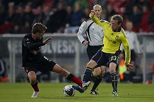 Michael Krohn-Dehli (Br�ndby IF), Anders Hermansen, dommer, Jakob Poulsen, anf�rer (FC Midtjylland)