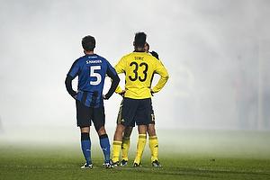 Dario Dumic (Br�ndby IF), Stefan Hansen (HB K�ge) i r�g fra romerlys