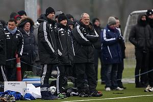 Jan Hoffmann, m�lmandstr�ner (Br�ndby IF), Auri Skarbalius, cheftr�ner (Br�ndby IF), Bent Christensen Arens�e, assistenttr�ner (Br�ndby IF)