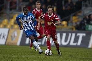 Kalilou Traor� (Ob), S�ren Christensen (FC Nordsj�lland)