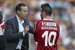 Kasper Hjulmand, cheftr�ner (FC Nordsj�lland), Mikkel Beckmann (FC Nordsj�lland)