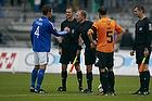 Mathias Tauber, anf�rer (Lyngby BK), Gudmundur Arsaell Gudmundsson, dommer, Mikkel Rask (Viborg FF)