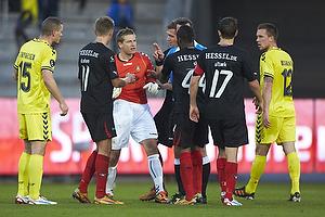 Michael T�rnes (Br�ndby IF), Danny Olsen (FC Midtjylland), Sylvester Igboun (FC Midtjylland)