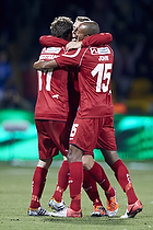 Kasper Lorentzen, m�lscorer (FC Nordsj�lland), Joshua John (FC Nordsj�lland), Morten Nordstrand (FC Nordsj�lland)