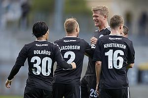 Cristian Bolanos (FC K�benhavn), Lars Jacobsen, anf�rer (FC K�benhavn), Andreas Cornelius, m�lscorer (FC K�benhavn), Thomas Kristensen (FC K�benhavn)