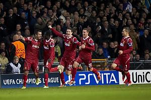 Mikkel Beckmann, m�lscorer (FC Nordsj�lland), Enoch Adu (FC Nordsj�lland), Ivan Runje (FC Nordsj�lland), Kasper Lorentzen (FC Nordsj�lland)