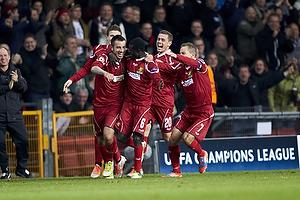 Mikkel Beckmann, m�lscorer (FC Nordsj�lland), Enoch Adu (FC Nordsj�lland), Kasper Lorentzen (FC Nordsj�lland)