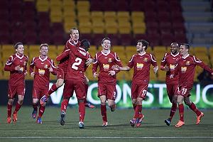 Jores Okore, m�lscorer (FC Nordsj�lland), Nikolaj Stokholm, anf�rer (FC Nordsj�lland), S�ren Christensen (FC Nordsj�lland), Mark Gundelach (FC Nordsj�lland)