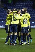 Mikkel Thygesen (Br�ndby IF), Quincy Antipas, m�lscorer (Br�ndby IF), Mike Jensen (Br�ndby IF)