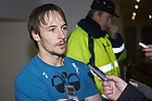 Mike Jensen (Br�ndby IF) matchvinder taler med pressen