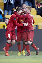 Morten Nordstrand, m�lscorer (FC Nordsj�lland), Patrick Mtiliga, anf�rer (FC Nordsj�lland), Anders Christiansen (FC Nordsj�lland)