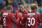 Oguzhan Aynaoglu, m�lscorer (FC Nordsj�lland), Patrick Mtiliga (FC Nordsj�lland), Lasse Petry (FC Nordsj�lland)