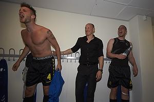 Daniel Stenderup (Br�ndby IF), Auri Skarbalius, cheftr�ner (Br�ndby IF), Martin Bernburg (Br�ndby IF)