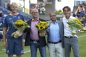 Claus N�rgaard, assistenttr�ner (Br�ndby IF), Per Rud, sportschef (Br�ndby IF), Tommy Sommer H�kansson, adm. direkt�r (Br�ndby IF), Thomas Frank, cheftr�ner (Br�ndby IF)