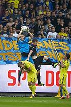Lukas Hradecky (Br�ndby IF), Morten Rasmussen (FC Midtjylland), Martin Albrechtsen (Br�ndby IF)