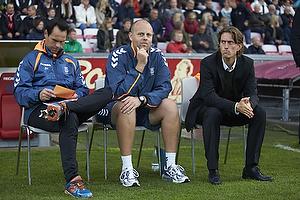 Jan Hoffmann, m�lmandstr�ner  (Br�ndby IF), Claus N�rgaard, assistenttr�ner (Br�ndby IF), Thomas Frank, cheftr�ner (Br�ndby IF)
