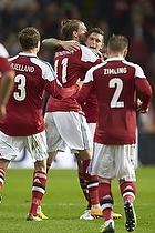 Nicklas Bendtner, m�lscorer (Danmark), Daniel Agger, anf�rer (Danmark), Niki Zimling (Danmark), Andreas Bjelland (Danmark)