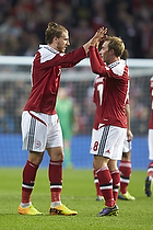 Nicklas Bendtner, m�lscorer (Danmark), Christian Eriksen (Danmark)