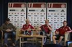 Lars Berendt, kommunikationschef (DBU) (Danmark), Morten Olsen, cheftr�ner (Danmark), Kasper Schmeichel (Danmark), Michael Krohn-Dehli (Danmark)